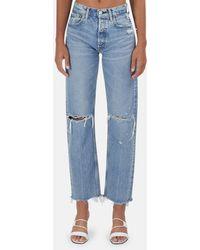 Moussy Vintage Viola Wide Straight Jeans - Blue