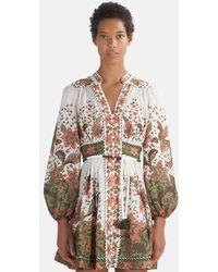 Zimmermann Empire Batik Short Dress - Multicolour