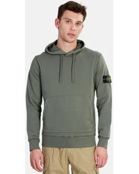 Stone Island Cotton Fleece Hoodie Sweater - Green