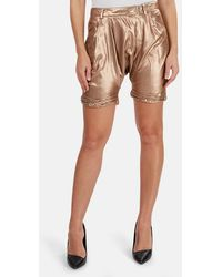 3.1 Phillip Lim Relax Twisted Cuff Harem Shorts - Metallic