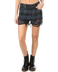 R13 Shredded Slouch Short - Blue