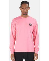 Stone Island Chest Logo Long Sleeve T-shirt - Pink