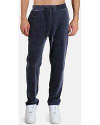 WHEELERS.V Velour Cord Pintuck Slacks Trousers - Blue