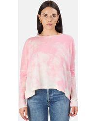 Minnie Rose Bleach Print Boyfriend Crop Jumper - Pink