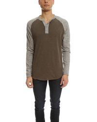 Todd Synder X Champion Henleys Colorblock Henley Ls Top - Brown