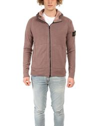 Stone Island Hooded Cardigan Sweater - Pink