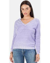 Minnie Rose Cotton/cashmere Frayed V Neck Jumper - Purple