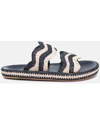 Zimmermann Wavy Raffia Slide Shoes - Black