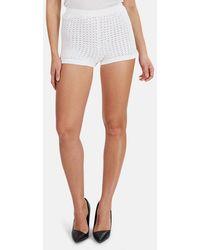 Lucien Pellat Finet Fine Knit Crochet Shorts - White