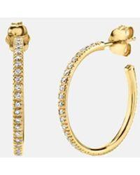 Sydney Evan Medium Diamond Hoops Earrings - Metallic