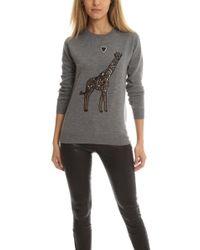 Markus Lupfer - Giraffe Love Embroidered Natalie Jumper Grey - Lyst