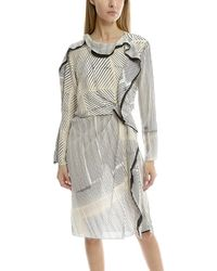 3.1 Phillip Lim Print Silk Ruffle Dress - White