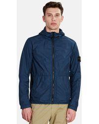 Stone Island Nylon Crinkle Zip Up Jacket - Blue