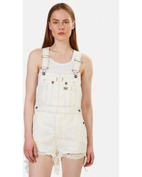 R13 Overall Shorts - White