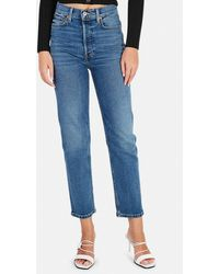 RE/DONE 70s Ultra High Rise Stove Pipe Jeans - Blue