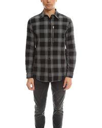 R13 Zip Plaid Shirt - Black