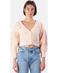 For Love & Lemons Amaryllis Cropped Cardigan Jumper - Pink