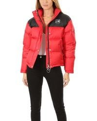 RE/DONE Cropped Puffer Jacket - Red
