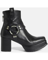 R13 Ankle Harness Half Platform Boot Shoes - Black