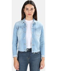 L'Agence Janelle Slim Raw Jacket Blue Cloud