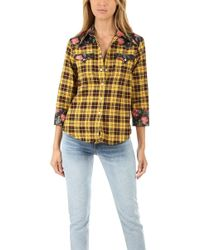 R13 Exaggerated Collar Cowboy Shirt Yellow / Black Floral