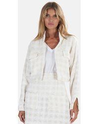 Blue & Cream Cropped Tweed Jacket - White