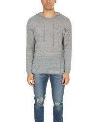 Blue & Cream Pullover Hoodie Jumper - Grey