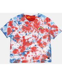 Aviator Nation Rainbow Embroidery Boyfriend T-shirt - Red