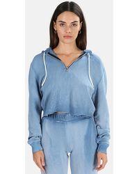 Cotton Citizen Brooklyn Crop Zip Hoodie Sweater - Blue