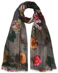Faliero Sarti Flowers Scarf Dark Sparkly Grey With Dark Jewel Tone Flowers - Gray