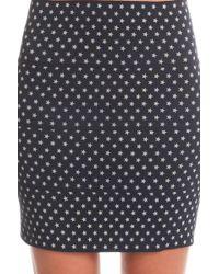 Pleasure Doing Business Printed Rubber Mini Skirt - Blue