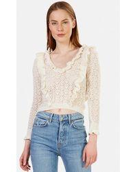 For Love & Lemons - For Love & Lemons Pearl V Neck Cropped Sweater - Lyst