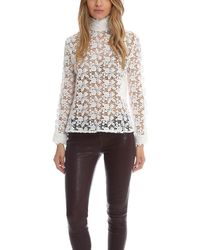 Roseanna Long Sleeve Mock Neck Lace Top - White