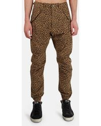 R13 Men's Leopard-pattern Military Cargo Trousers - Brown