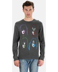Madeworn Rock Henleys Kiss Neon Long Sleeve Top - Black