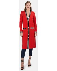 L'Agence Tinsley Long Cardigan Sweater - Red