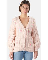 For Love & Lemons Amaryllis Button Down Cardigan Jumper - Pink