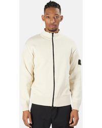 Stone Island Cotton Knit Zip Cardigan Sweater - White