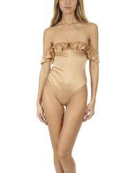 For Love & Lemons Virgo Ruffle Bodysuit - Natural