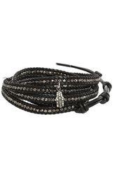 Chan Luu - Indian Beads On Black Leather With Diamond Hamsa Charm - Lyst