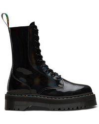 Dr. Martens Jadon Hi Rainbow Patent Boot Shoes - Black