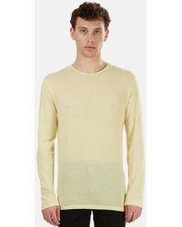 Blue & Cream Henleys 66 Ls T-shirt - Yellow