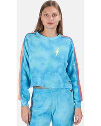 Aviator Nation Bolt Crop Sweatshirt Sweater - Blue