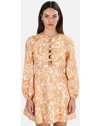 Zimmermann Peggy Scallop Short Dress - Orange