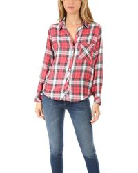 Rails Hunter Button Down Red/white/grey