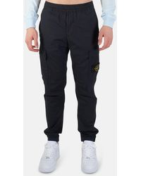Stone Island Garment Dyed Cotton Cargo Trousers - Blue