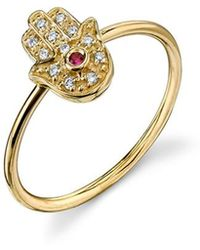 Sydney Evan - Hamsa Ring - Yellow Gold - Lyst