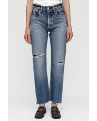 Moussy Morganfield Wide Straight Trousers - Blue