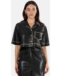 Nanushka Rhett Vegan Leather Top - Black