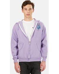 Blue & Cream Cosmic Trip Zip Up Hoodie Jumper - Purple